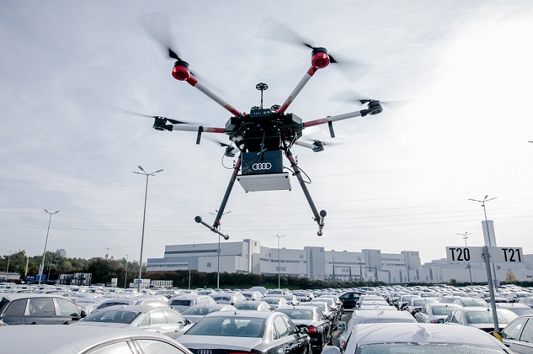 audi, rfid, drone, gps, otonom fabrika